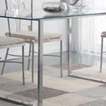 Mesa de comedor de forja y cristal forma U